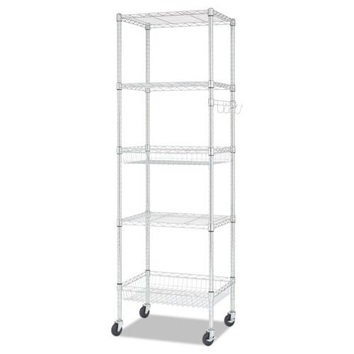 Alera® Commercial Wire Shelving, Six-Shelf, 48w x 18d x 72h, Black Anthracite