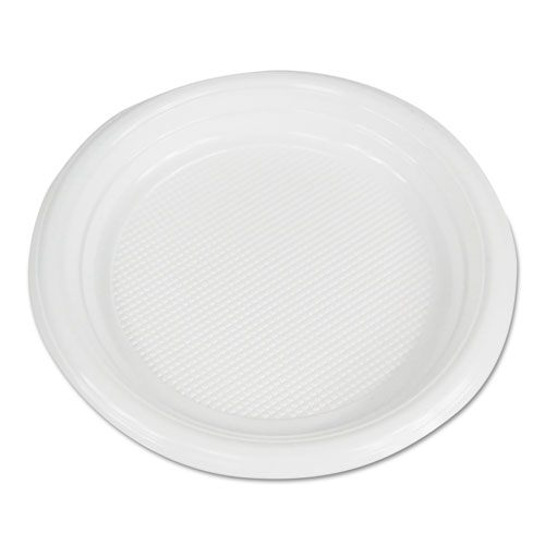 Hi-Impact Plastic Dinnerware, Plate, 6 Diameter, White, 1000/Carton
