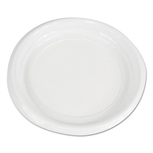 "Boardwalk® Hi-Impact Plastic Dinnerware, Plate, 9"" Diameter, White, 500/Carton"