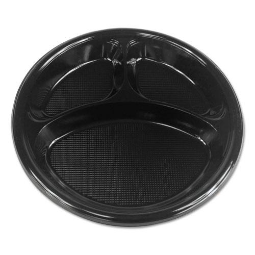 "Boardwalk® Hi-Impact Plastic Dinnerware, Plate, 10"" Dia., 3 Compartments, Black, 500/Carton"