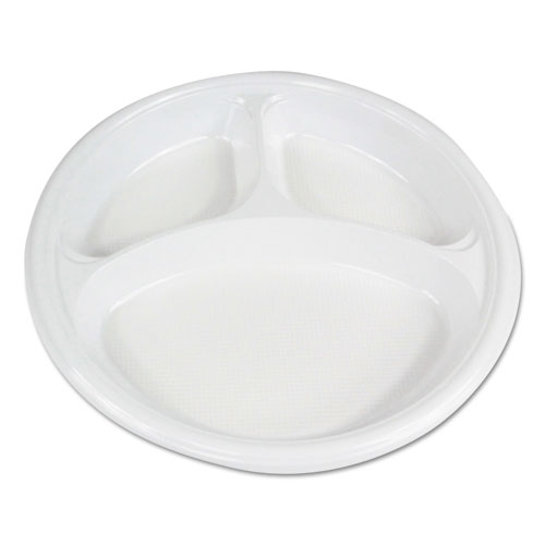 Hi-Impact Plastic Dinnerware, Plate, 10 Dia., 3 Compartments, White, 500/Carton