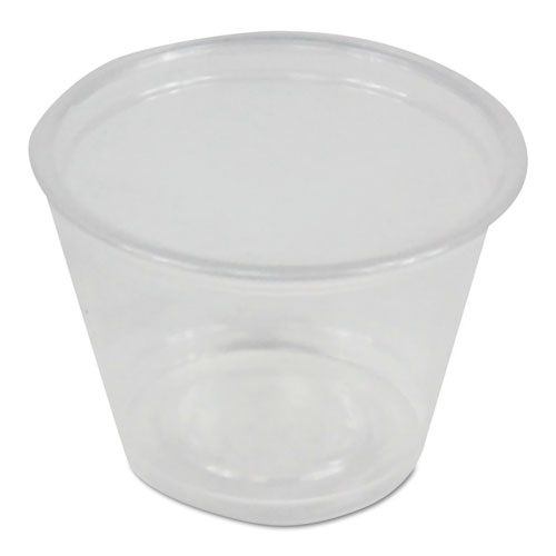 Souffl/Portion Cups, 1 oz, Polypropylene, Clear, 20 Cups/Sleeve, 125 Sleeves/Carton