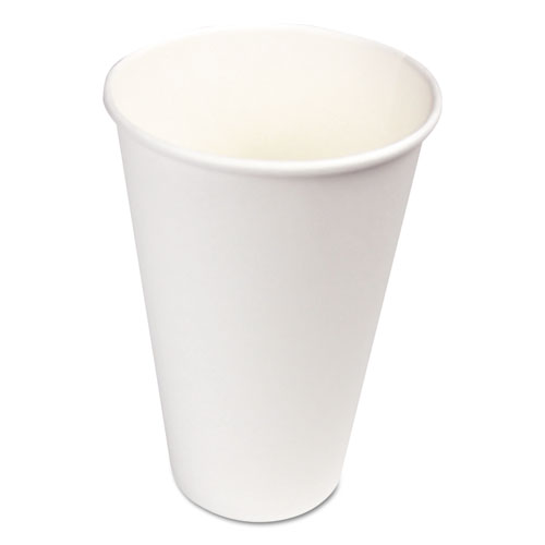 Paper Hot Cups, 16 oz, White, 20 Cups/Sleeve, 50 Sleeves/Carton