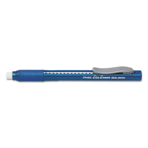 Clic Eraser Grip Eraser, White Polyvinyl Chloride Eraser, Blue Barrel | by Plexsupply