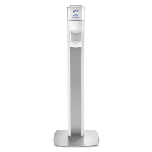PURELL® MESSENGER ES6 Floor Stand with Dispenser, Plastic, 1200 mL, Silver/White