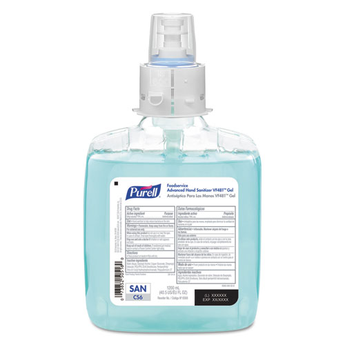 PURELL® Foodservice Advanced Hand Sanitizer VF481 Gel, 1200 mL, For CS4 Dispensers, 2/Carton