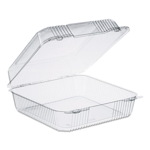 """Dart® StayLock Clear Hinged Lid Containers, 75.7 oz, 9.1"""" x 9.5"""" x 3.6"""", Clear, 250/CT"""