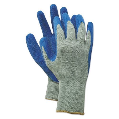 Rubber Palm Gloves, Gray/Blue, Medium, 1 Dozen