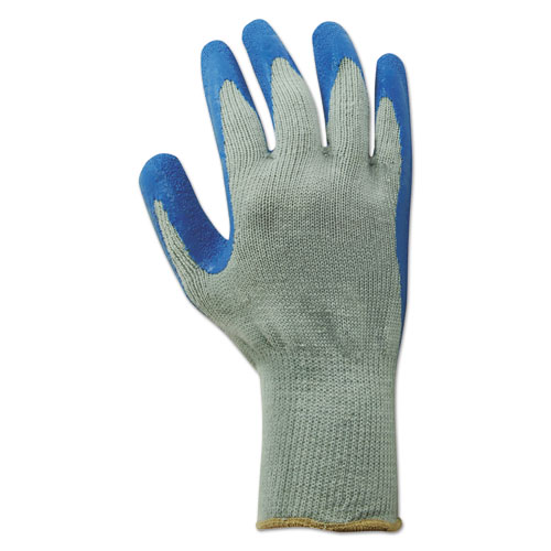 Rubber Palm Gloves, Gray/Blue, Large, 1 Dozen