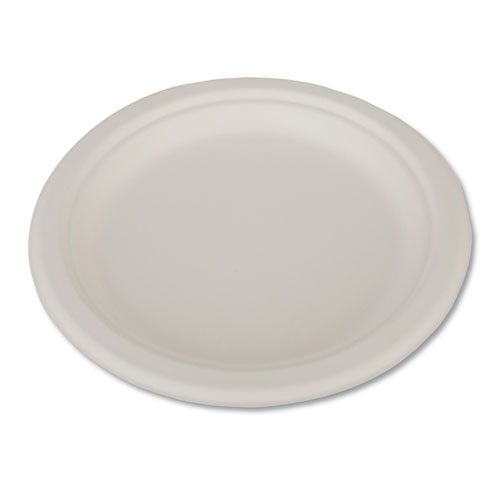 "ChampWare Heavyweight Bagasse Dinnerware, Plate, 9"", White, 500/Carton 
