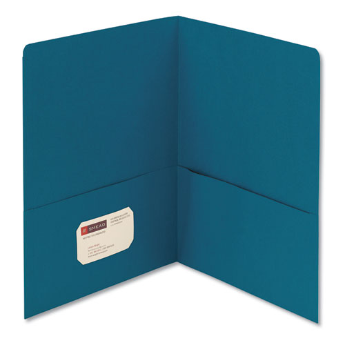 Two-Pocket Folder, Textured Paper, Teal, 25/Box | by Plexsupply
