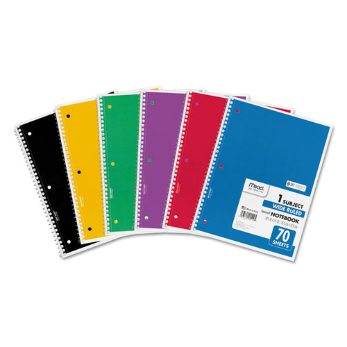 Spiral Notebook, 1 Subject, Wide/Legal Rule, Assorted Color Covers, 10.5 x 8, 70 Sheets, 6/Pack