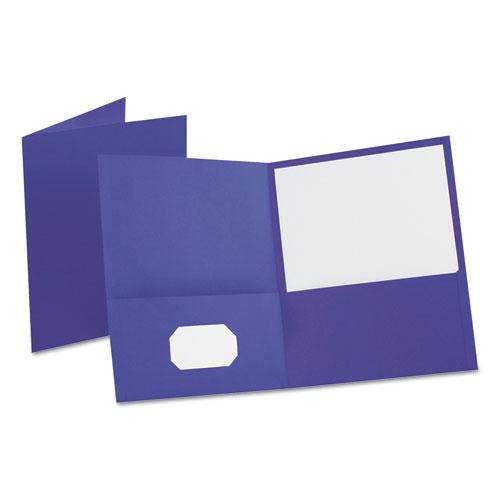Leatherette Two Pocket Portfolio, 8 1/2 x 11, Purple, 10/PK