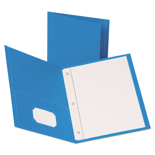 Leatherette Two Pocket Portfolio with Fasteners, 8 1/2 x 11, Light Blue, 10/PK