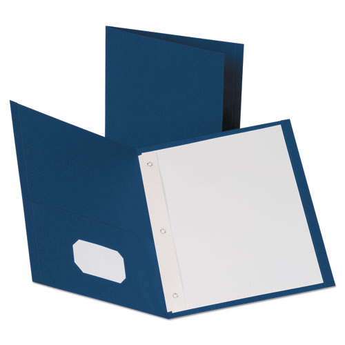 Leatherette Two Pocket Portfolio with Fasteners, 8 1/2 x 11, Blue, 10/PK