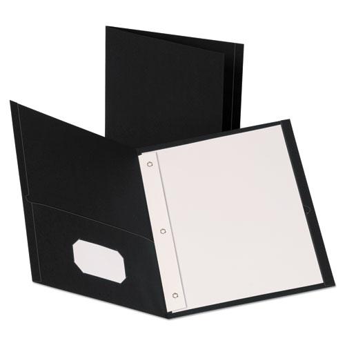 Leatherette Two Pocket Portfolio with Fasteners, 8 1/2 x 11, Black, 10/PK