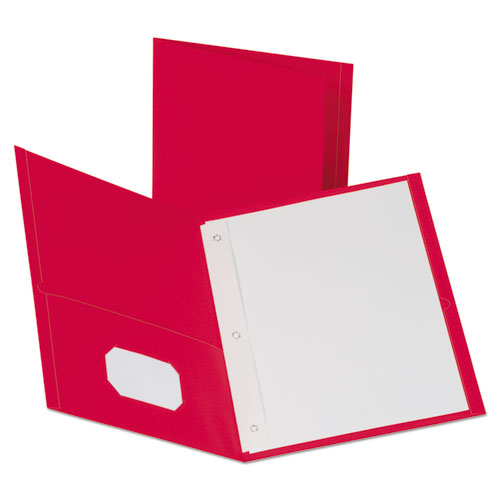 Leatherette Two Pocket Portfolio, 8 1/2 x 11, Red, 135 Sheets,10/PK