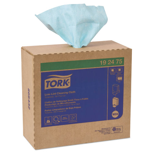 Tork® Low-Lint Cleaning Cloth, 13.5 x 16.4, Turquoise, 100/Bag, 5 Bags/Carton