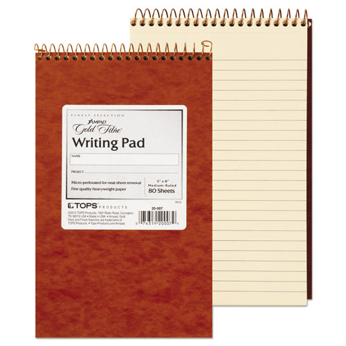 Gold Fibre Retro Wirebound Writing Pads, 1 Subject, Medium/College Rule, Red Cover, 5 x 8, 80 Sheets | by Plexsupply
