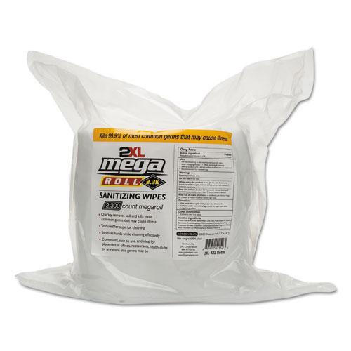 "2XL Mega Roll Sanitizing Wipes Refill, 7.7"" x 6"", White, 50 ft/roll, 2 Roll/Carton"