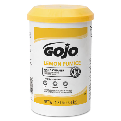 Lemon Pumice Hand Cleaner, Lemon Scent, 4.5 lb Tub, 6/Carton