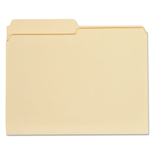Top Tab Manila File Folders, 1/2-Cut Tabs, Assorted Positions, Letter Size, 11 pt. Manila, 100/Box | by Plexsupply
