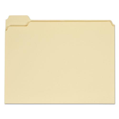 Top Tab Manila File Folders, 1/5-Cut Tabs, Assorted Positions, Letter Size, 11 pt. Manila, 100/Box | by Plexsupply