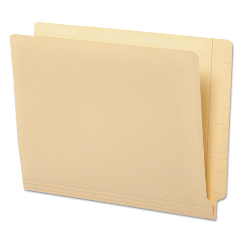 """Deluxe Reinforced End Tab Folders, 9"""" Front, Straight Tab, Letter Size, Manila, 100/Box"""