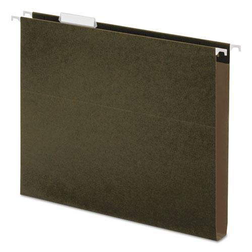 One Inch Box Bottom Hanging Folder, Pressboard, Letter, Standard Green, 25/Box