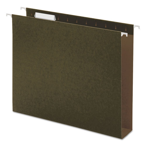 Two Inch Box Bottom Pressboard Hanging Folder, Letter, Standard Green, 25/Box