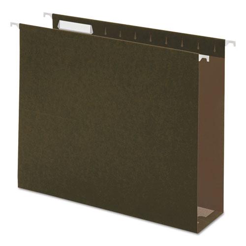 Three Inch Box Bottom Pressboard Hanging Folder, Letter, Standard Green, 25/Box