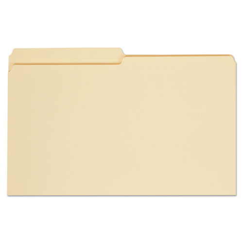 Top Tab Manila File Folders, 1/2-Cut Tabs, Assorted Positions, Legal Size, 11 pt. Manila, 100/Box
