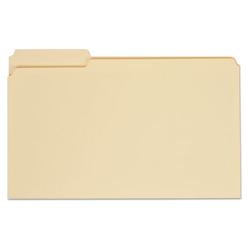 Top Tab Manila File Folders, 1/3-Cut Tabs, Assorted Positions, Legal Size, 11 pt. Manila, 100/Box | by Plexsupply