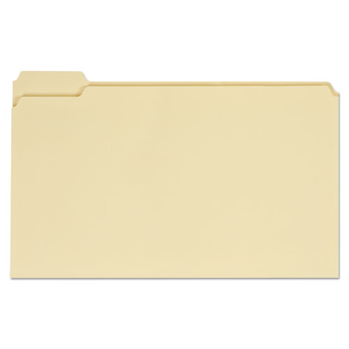 Top Tab Manila File Folders, 1/5-Cut Tabs, Assorted Positions, Legal Size, 11 pt. Manila, 100/Box | by Plexsupply
