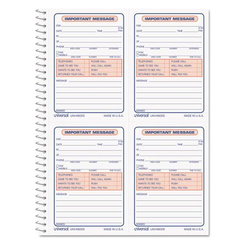 Wirebound Message Books, 5 1/2 x 3 3/16, Two-Part Carbonless, 200-Set Book | by Plexsupply