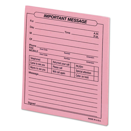 Important Message Pink Pads, 4 1/4 x 5 1/2, 50/Pad, Dozen