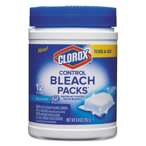 Clorox® Control Bleach Packs, Regular, 12 Tabs/Pack, 6 Packs/Carton