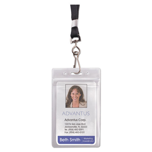 resealable id badge holder lanyard vertical 2 5 8 x 3 3 4 clear