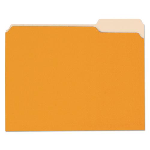 Deluxe Colored Top Tab File Folders, 1/3-Cut Tabs, Letter Size, Orange/Light Orange, 100/Box