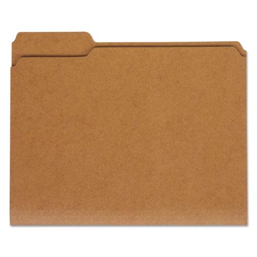 Reinforced Kraft Top Tab File Folders, 1/3-Cut Tabs, Letter Size, Kraft, 100/Box