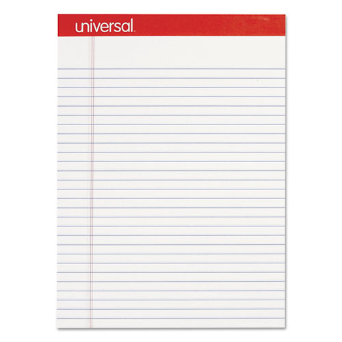 Perforated Writing Pads, Wide/Legal Rule, 8.5 x 11.75, White, 50 Sheets, Dozen | by Plexsupply