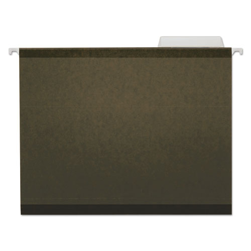 Deluxe Reinforced Recycled Hanging File Folders, Letter Size, 1/3-Cut Tab, Standard Green, 25/Box