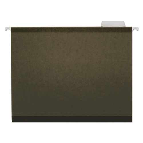 Deluxe Reinforced Recycled Hanging File Folders, Letter Size, 1/5-Cut Tab, Standard Green, 25/Box