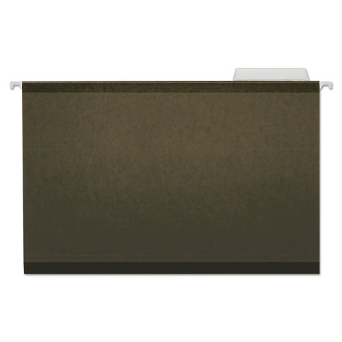 Deluxe Reinforced Recycled Hanging File Folders, Legal Size, 1/3-Cut Tab, Standard Green, 25/Box