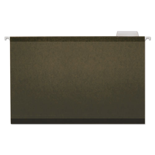 Deluxe Reinforced Recycled Hanging File Folders, Legal Size, 1/5-Cut Tab, Standard Green, 25/Box