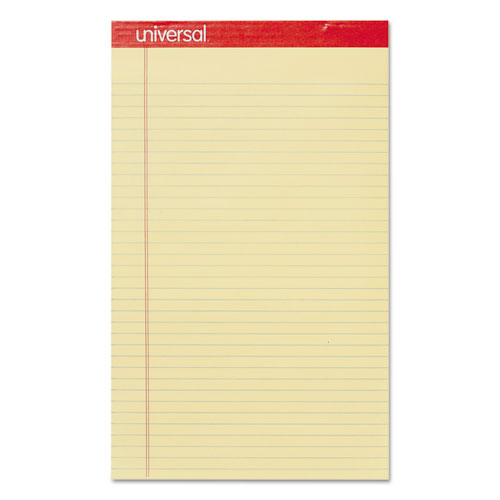 Perforated Ruled Writing Pads, Wide/Legal Rule, 8.5 x 14, Canary, 50 Sheets, Dozen