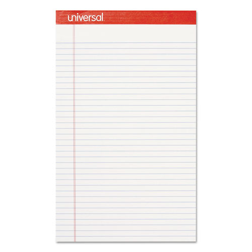 Perforated Ruled Writing Pads, Wide/Legal Rule, 8.5 x 14, White, 50 Sheets, Dozen
