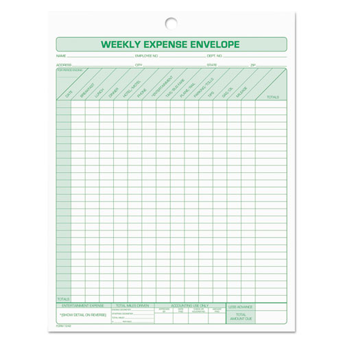 Weekly Expense Envelope, 8 1/2 x 11, 20 Forms | by Plexsupply