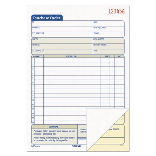 Purchase Order Book, 5 9/16 x 8 7/16, Two-Part Carbonless, 50 Sets/Book | by Plexsupply