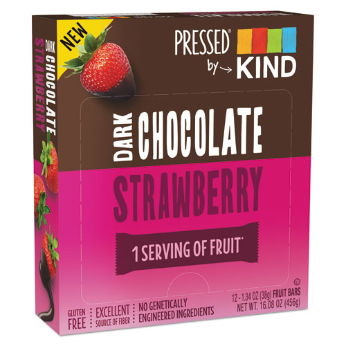 Pressed by KIND Bars, Dark Chocolate Strawberry, 1.34 oz, 12/Pack